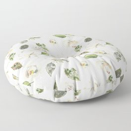 Scattered White and Cream Roses with Gentle Green Foliage  Floor Pillow