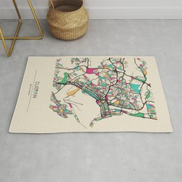 Colorful City Maps: Durban, South Africa Rug