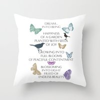 poem Throw Pillows featuring Dream Poem by Zen and Chic