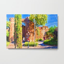 Castle Barcelona Spain Metal Print