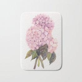 watercolor pink hydrangea Bath Mat