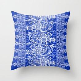 Vintage Lace Sapphire Blue Throw Pillow