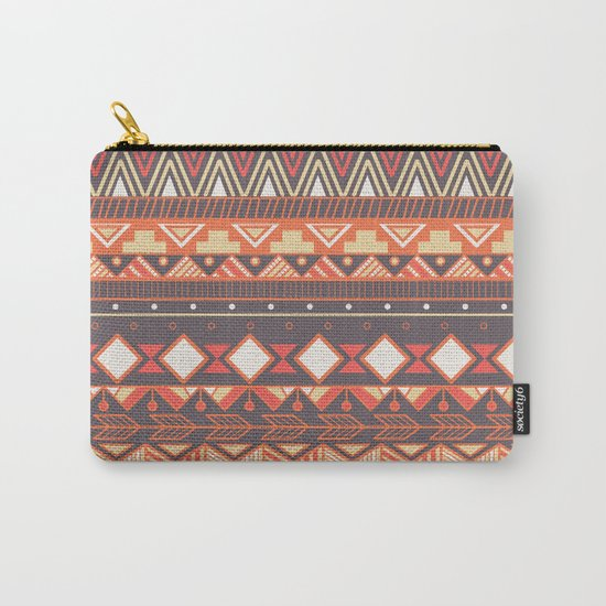 Aztec tribal pattern in stripes, vector illustration Carry-All Pouch