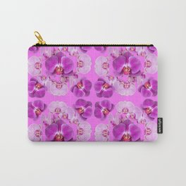 Pink Color Abstracted Modern Purple Moth Orchids Carry-All Pouch