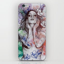 The Withering Spring: Wine (nude tattooed girl with flowers) iPhone Skin
