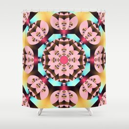 Pink, blue, brown and yellow kaleidoscope pattern design Shower Curtain