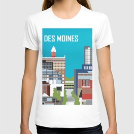 Des Moines, Iowa - Skyline Illustration by Loose Petals T-shirt