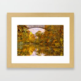 Fall at Upper Falls, Massachusetts.  Echo Bridge Framed Art Print