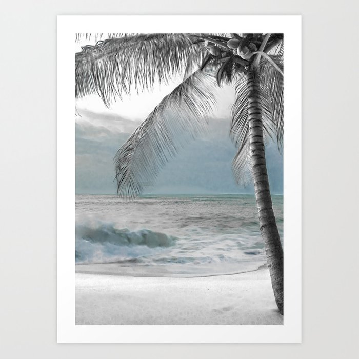 White Coconut Palm Tree Kunstdrucke