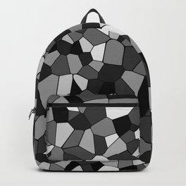 Black And Gray Monochrome Geometric Mosaic Pattern Backpack