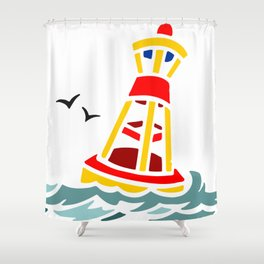 Yellow and Red Buoy Shower Curtain