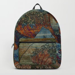 Great Wave On Wood Backpack