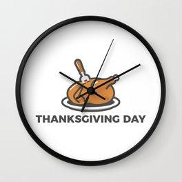 Happy Thanksgiving Day Turkey Feast Wall Clock