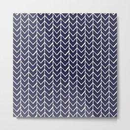 Herringbone Blue And White Metal Print