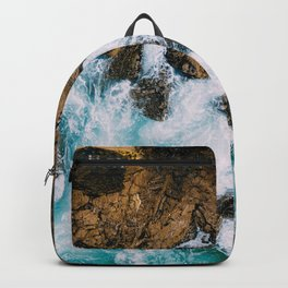 Ocean Waves Crushing On Rocky Landscape, Drone Photography, Aerial Landscape Photo, Ocean Wall Art Backpack