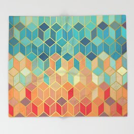 Colorful Squares with Gold - Friendly Colors and Marble Texture Throw Blanket