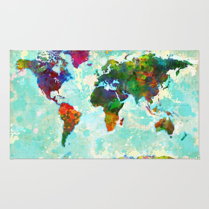 Abstract Map of the World Rug