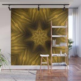 Golden Amber Metalic Abstract Star #Kaleidoscope Wall Mural