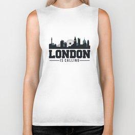 London Is Calling - London UK Skyline Biker Tank