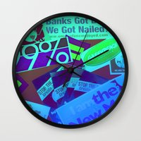 stickers Wall Clocks featuring Bumper Stickers by Ellen Turner
