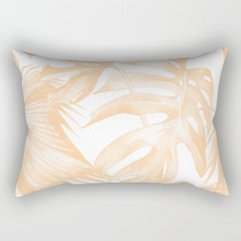 Island Vacation Hibiscus Palm Coral Rectangular Pillow