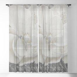 White Flower Silver Glitter Sheer Curtain