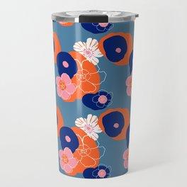 Hibiscus Trionium Wood Block Pattern Travel Mug