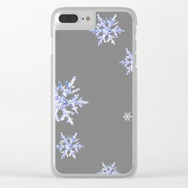 DECORATIVE GREY WINTER WHITE SNOWFLAKES Clear iPhone Case