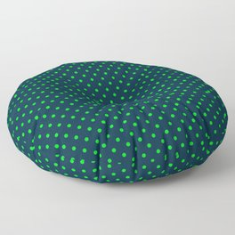 Mini Navy and Neon Lime Green Polka Dots Floor Pillow