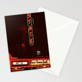Night Lights State Street Theater, Ithaca NY Stationery Cards