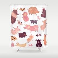 pig Shower Curtains featuring Pig Pig Pig  by Chuck Groenink