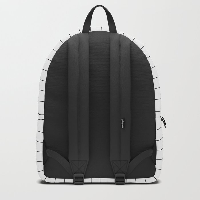 White Black Lines Minimalist Backpack