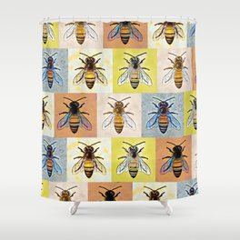 Honey Bees Forever Pattern Shower Curtain