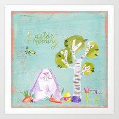 Easter Morning I- Animal Rabit Hare Bunny Spring for children Art Print