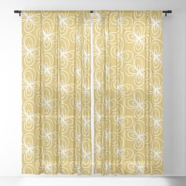 Butterfly Flowers Pattern in White and Light Mustard Sheer Curtain