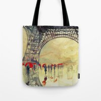 takmaj Tote Bags featuring Winter in Paris by takmaj