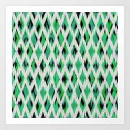 light diamond ikat on bright green Art Print