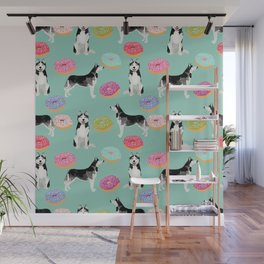 Husky donuts cute dog portrait pet friendly dog art husky puppies must have gifts for dog lover Wall Mural