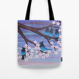 Steller's jays and cherry blossoms Tote Bag