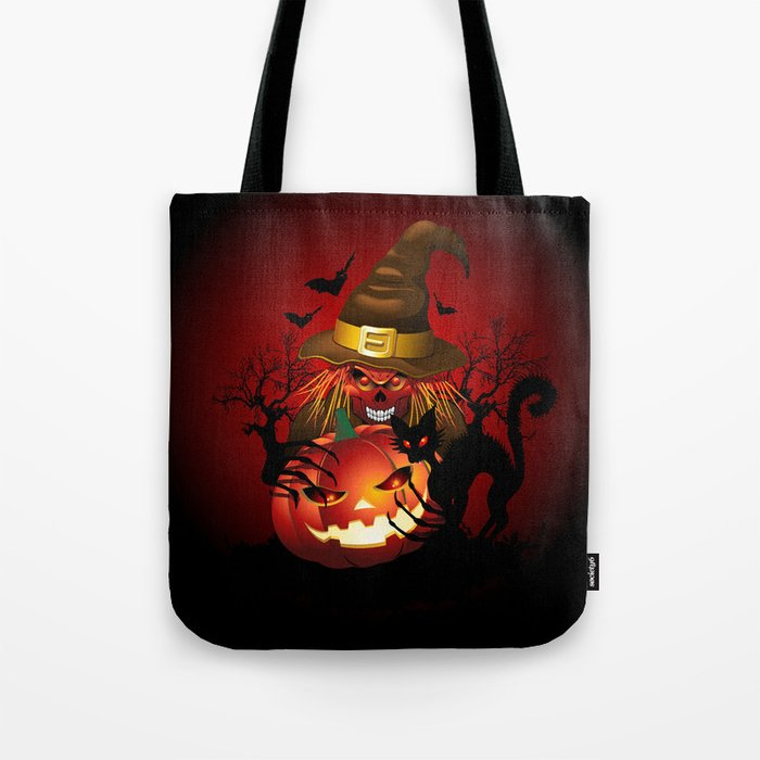Skull Witch Creepy Halloween Tote Bag