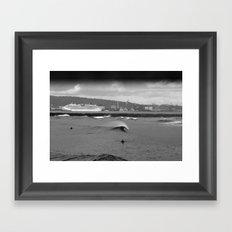 Long Beach Storm Framed Art Print