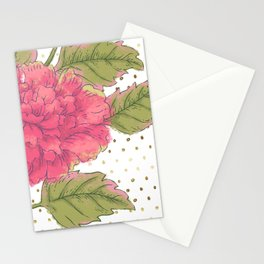 Big Bloom Pink Flower with Gold Polka Dots Stationery Cards