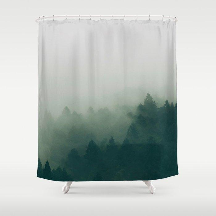 Green Pine Trees Misty Foggy Forest Ombre Gradient Minimalist Landscape Shower Curtain By Enshape