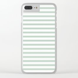 Moss Green and White Mattress Ticking Wide Striped Pattern Clear iPhone Case
