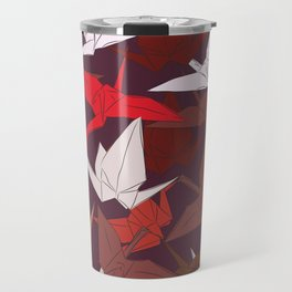 Japanese Origami paper cranes symbol of happiness, luck and longevity, sketch Travel Mug