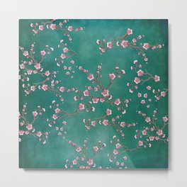 SAKURA LOVE - GREEN Metal Print