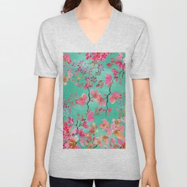 Elegant hand paint watercolor spring floral Unisex V-Neck