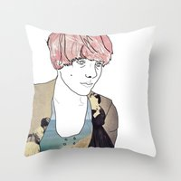 introvert Throw Pillows featuring introvert girl by Katharina Nachher