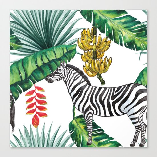 watercolor banana leaves with zebra Canvas Print