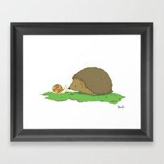Hedgehog and Snail Framed Art Print